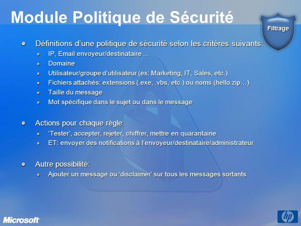 Module Politique de Sécurité Définitions d'une politique de sécurité selon les critères suivants: IP, Email envoyeur/destinataire … Domaine Utilisateur/groupe d'utilisateur (ex: Marketing, IT, Sales, etc.) Fichiers attachés: extensions (.exe,.vbs, etc.) ou noms (hello.zip…) Taille du message Mot spécifique dans le sujet ou dans le message Actions pour chaque règle: 'Tester', accepter, rejeter, chiffrer, mettre en quarantaine ET: envoyer des notifications à l'envoyeur/destinataire/administrateur Autre possibilité: Ajouter un message ou 'disclaimer' sur tous les messages sortants Filtrage