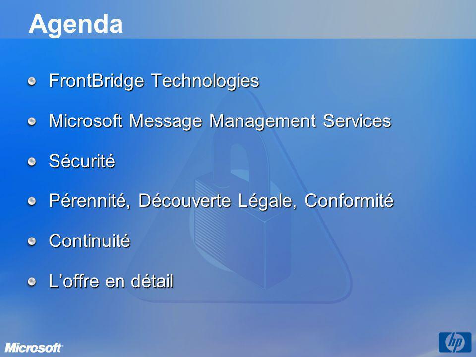Agenda FrontBridge Technologies Microsoft Message Management Services Sécurité Pérennité, Découverte Légale, Conformité Continuité L'offre en détail