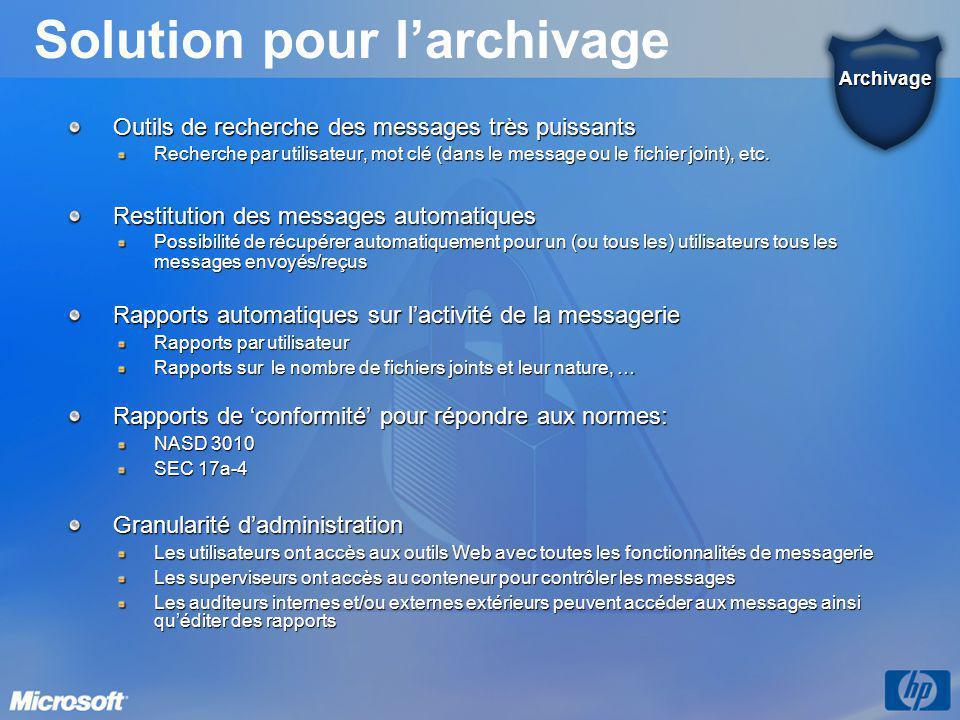 Solution pour l'archivage Outils de recherche des messages très puissants Recherche par utilisateur, mot clé (dans le message ou le fichier joint), et