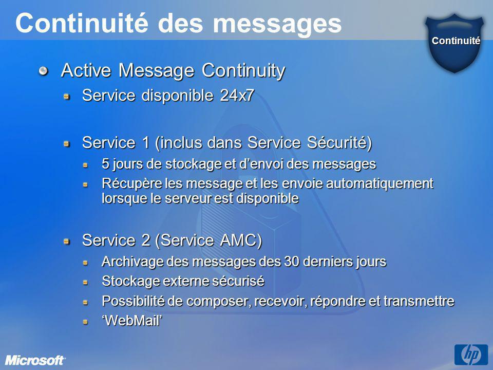 Continuité des messages Active Message Continuity Service disponible 24x7 Service 1 (inclus dans Service Sécurité) 5 jours de stockage et d'envoi des