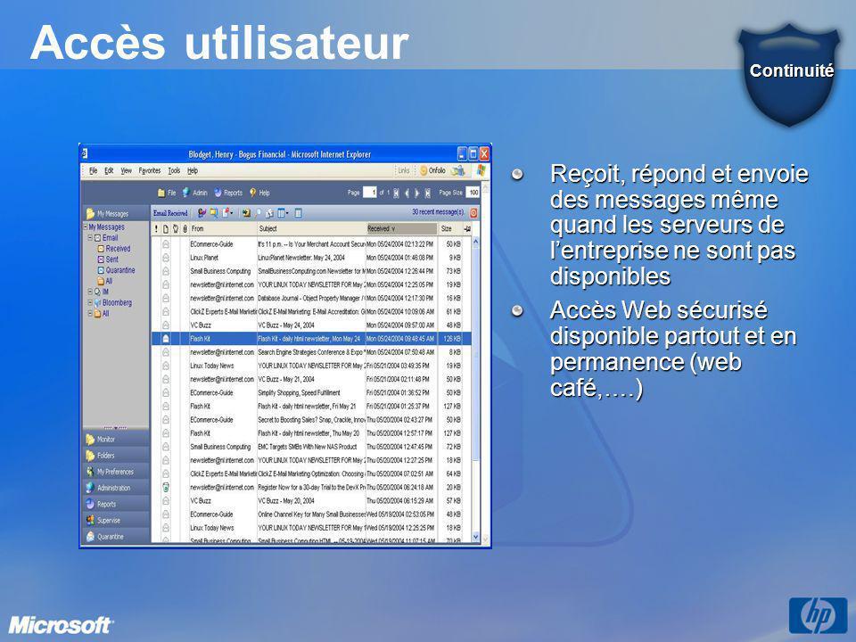 Accès utilisateur Reçoit, répond et envoie des messages même quand les serveurs de l'entreprise ne sont pas disponibles Accès Web sécurisé disponible partout et en permanence (web café,….) Continuité