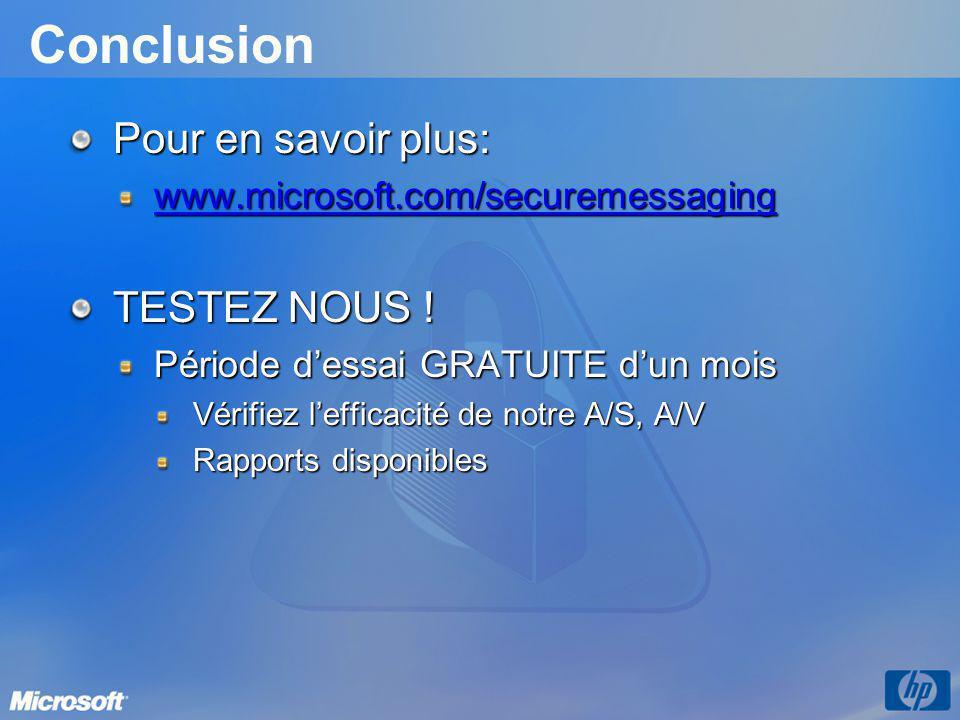 Conclusion Pour en savoir plus: www.microsoft.com/securemessaging TESTEZ NOUS .