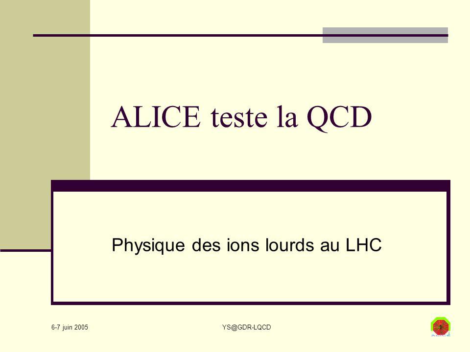 6-7 juin 2005 YS@GDR-LQCD1 ALICE teste la QCD Physique des ions lourds au LHC