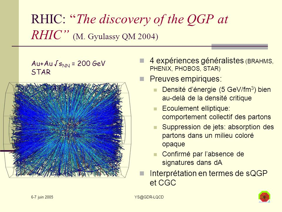 6-7 juin 2005 YS@GDR-LQCD9 LHC: la plus proche approximation du Big Bang ALICE: une seule expérience ions lourds généralistes En 04/2007, premières collisions pp à 14 TeV, … et peu après les premières collisions PbPb à √s NN = 5.5 TeV.