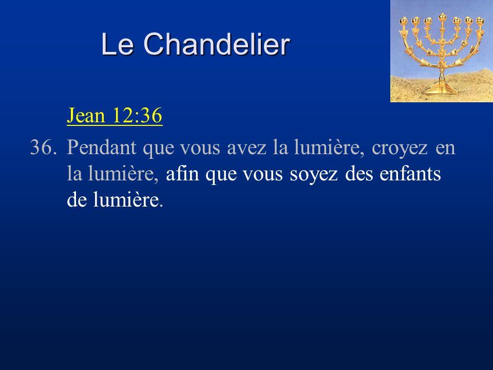 Le Chandelier Jean 12:36 36.Pendant que vous avez la lumière, croyez en la lumière, afin que vous soyez des enfants de lumière.