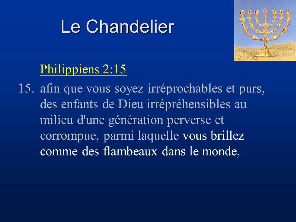 Le Chandelier Philippiens 2:15 15.afin que vous soyez irréprochables et purs, des enfants de Dieu irrépréhensibles au milieu d'une génération perverse
