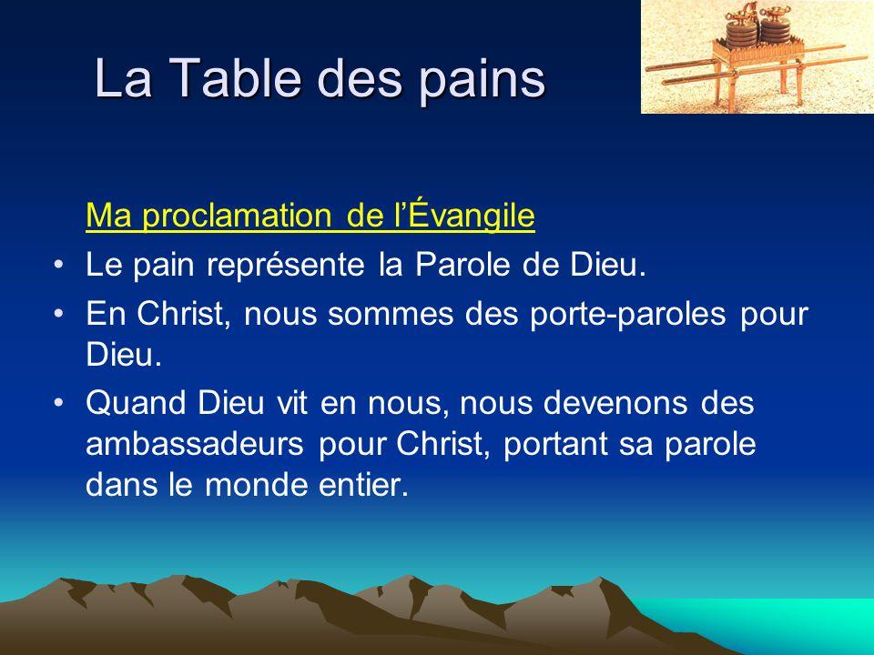 La Table des pains Ma proclamation de l'Évangile Le pain représente la Parole de Dieu. En Christ, nous sommes des porte-paroles pour Dieu. Quand Dieu