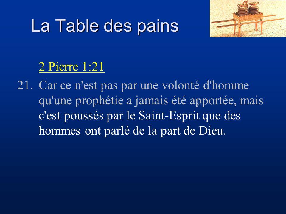 La Table des pains 2 Pierre 1:21 21.Car ce n'est pas par une volonté d'homme qu'une prophétie a jamais été apportée, mais c'est poussés par le Saint-E