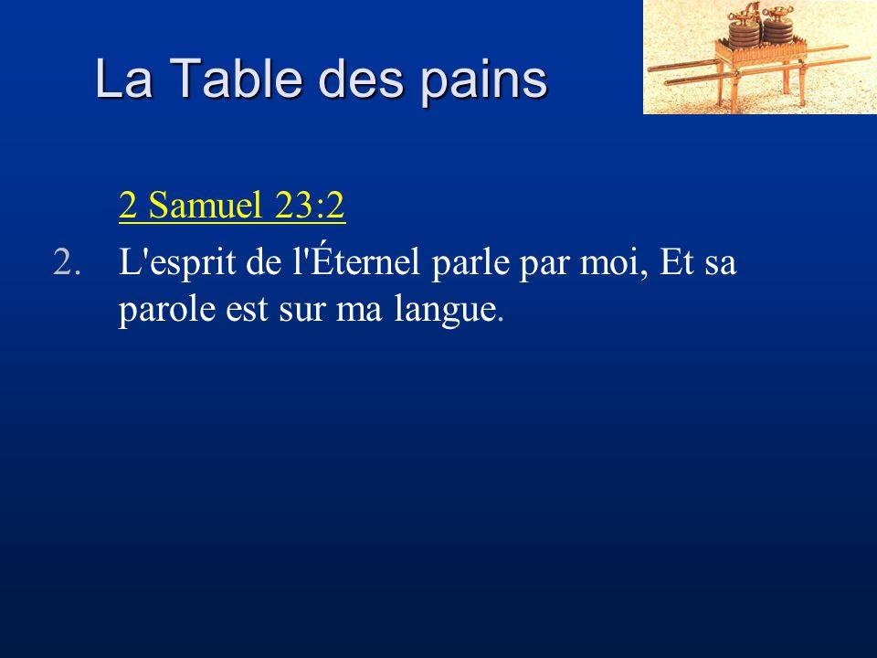 La Table des pains 2 Samuel 23:2 2.L'esprit de l'Éternel parle par moi, Et sa parole est sur ma langue.