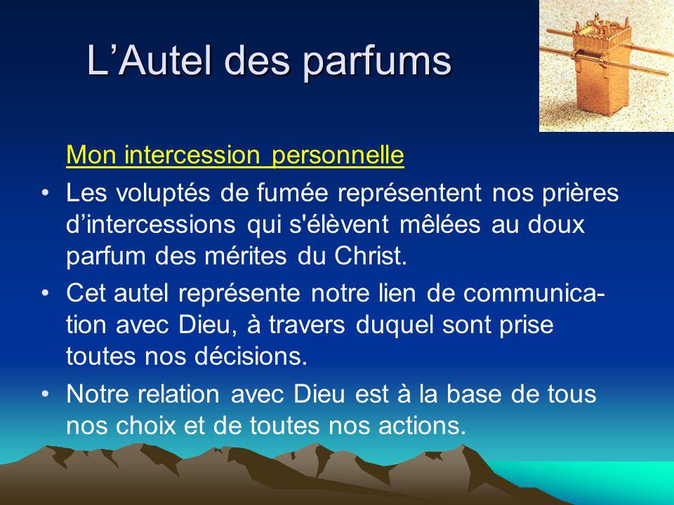 Mon intercession personnelle Les voluptés de fumée représentent nos prières d'intercessions qui s'élèvent mêlées au doux parfum des mérites du Christ.