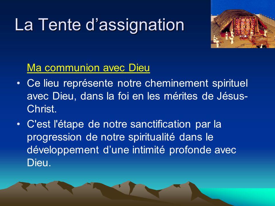 Ma communion avec Dieu Ce lieu représente notre cheminement spirituel avec Dieu, dans la foi en les mérites de Jésus- Christ. C'est l'étape de notre s