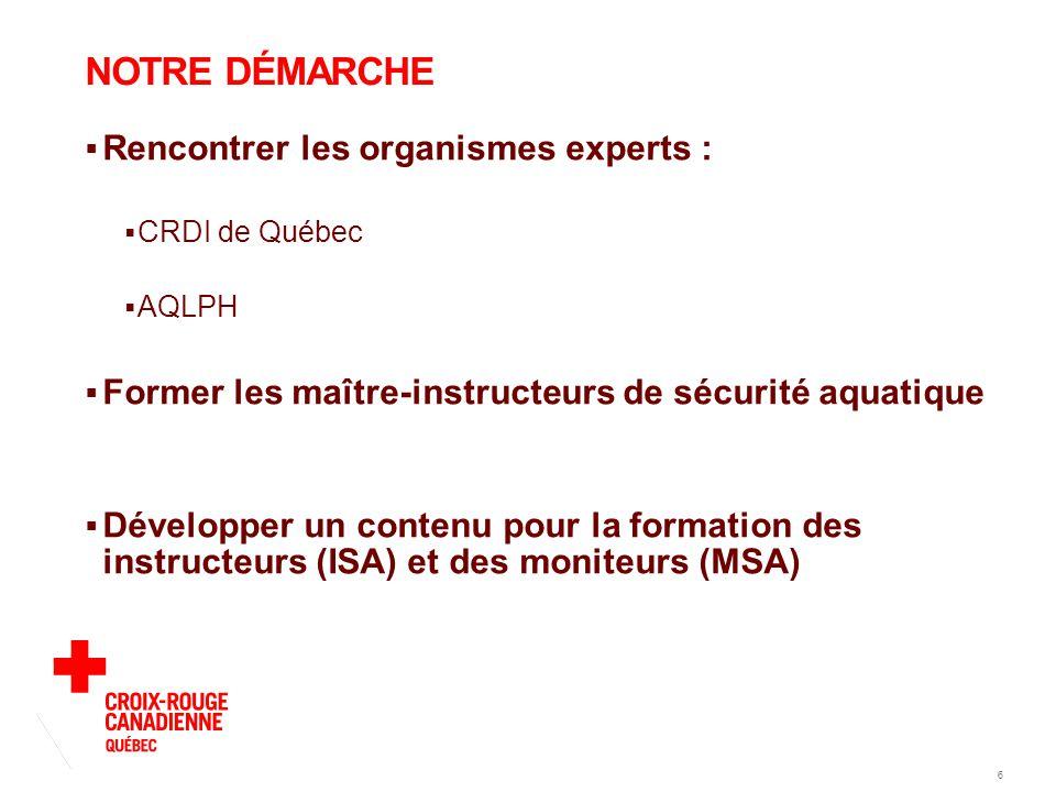 6 NOTRE DÉMARCHE  Rencontrer les organismes experts :  CRDI de Québec  AQLPH  Former les maître-instructeurs de sécurité aquatique  Développer un contenu pour la formation des instructeurs (ISA) et des moniteurs (MSA)