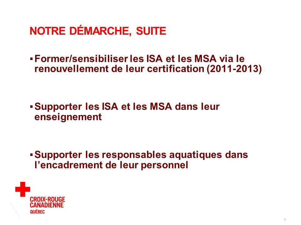 7 NOTRE DÉMARCHE, SUITE  Former/sensibiliser les ISA et les MSA via le renouvellement de leur certification (2011-2013)  Supporter les ISA et les MSA dans leur enseignement  Supporter les responsables aquatiques dans l'encadrement de leur personnel