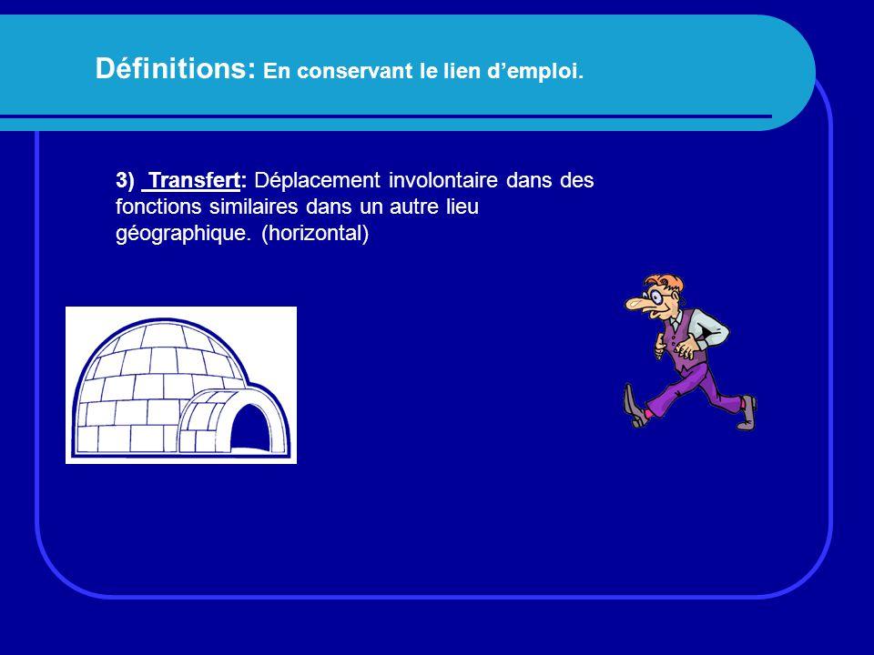 Définitions: En conservant le lien d'emploi. 3) Transfert: Déplacement involontaire dans des fonctions similaires dans un autre lieu géographique. (ho