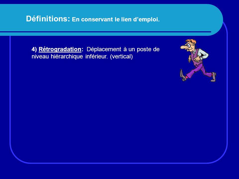 Définitions: En conservant le lien d'emploi. 4) Rétrogradation: Déplacement à un poste de niveau hiérarchique inférieur. (vertical)