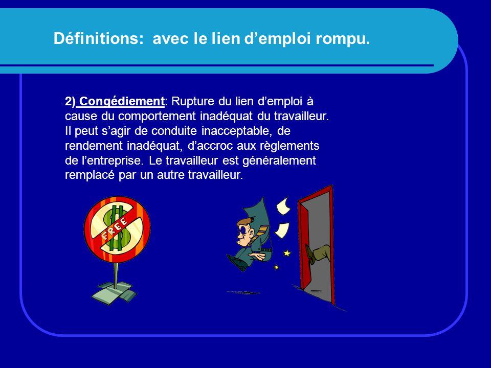 Définitions: avec le lien d'emploi rompu. 2) Congédiement: Rupture du lien d'emploi à cause du comportement inadéquat du travailleur. Il peut s'agir d