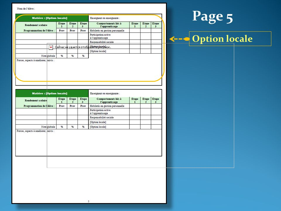 Page 5 Option locale