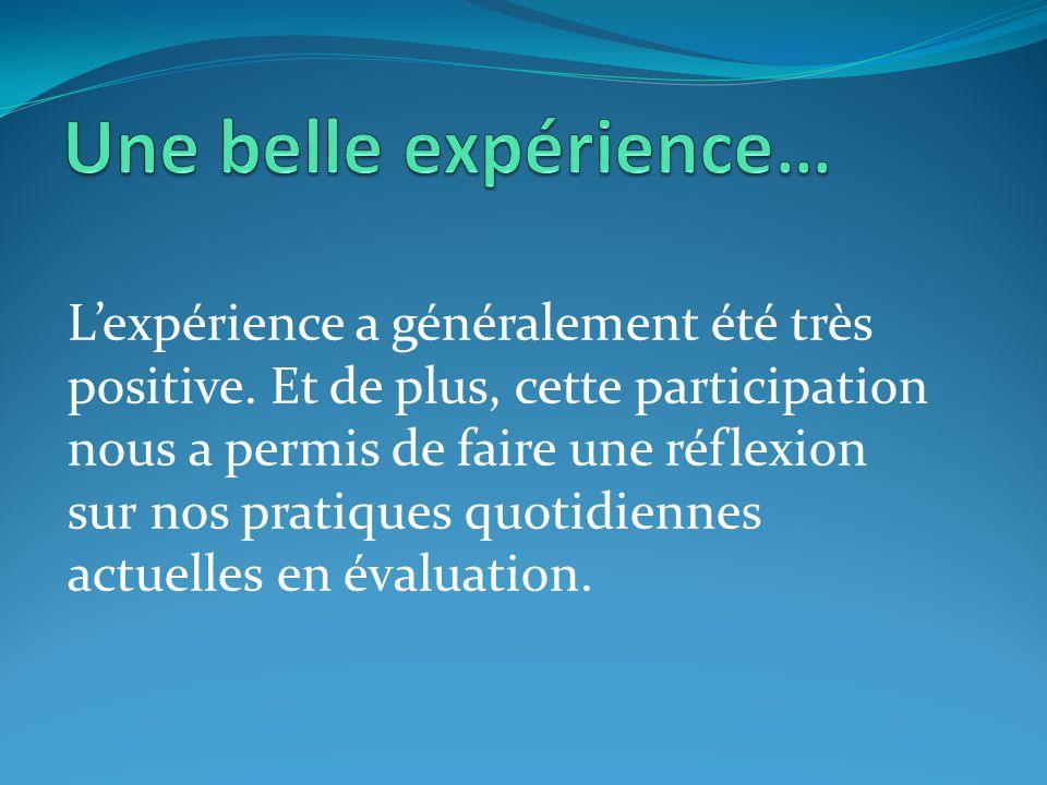 L'expérience a généralement été très positive. Et de plus, cette participation nous a permis de faire une réflexion sur nos pratiques quotidiennes act