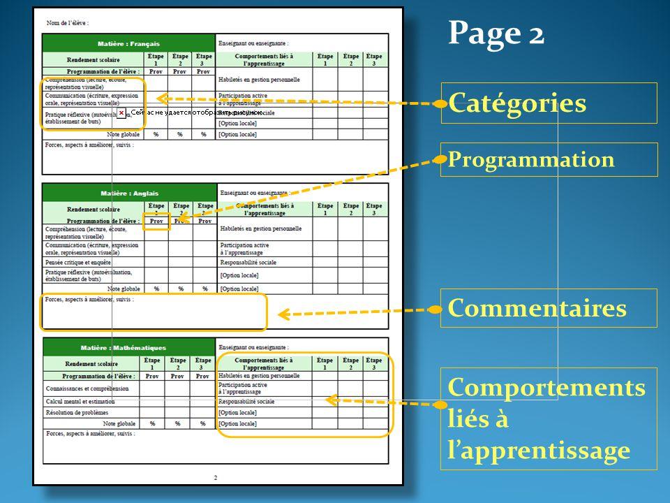 Page 2 Catégories Programmation Commentaires Comportements liés à l'apprentissage