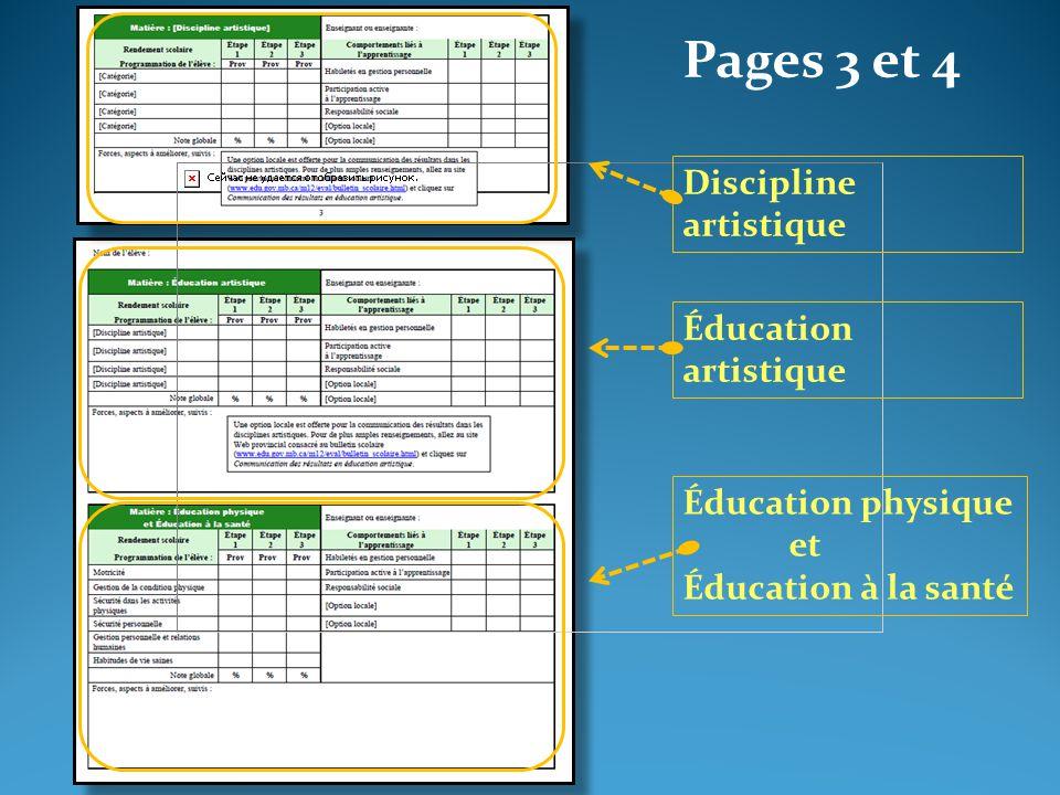 Pages 3 et 4 Éducation artistique Éducation physique et Éducation à la santé Discipline artistique