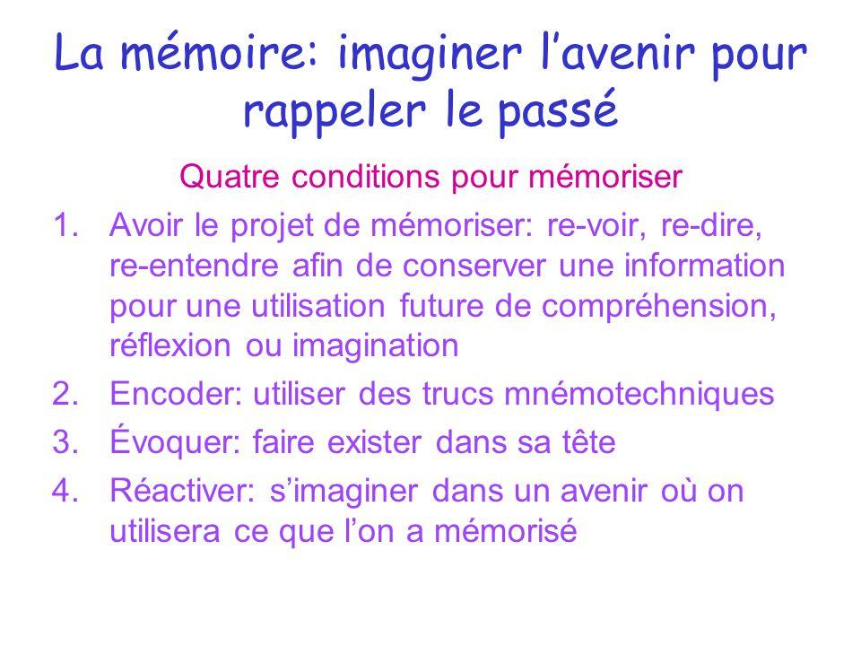 La mémoire: imaginer l'avenir pour rappeler le passé Quatre conditions pour mémoriser 1.Avoir le projet de mémoriser: re-voir, re-dire, re-entendre af