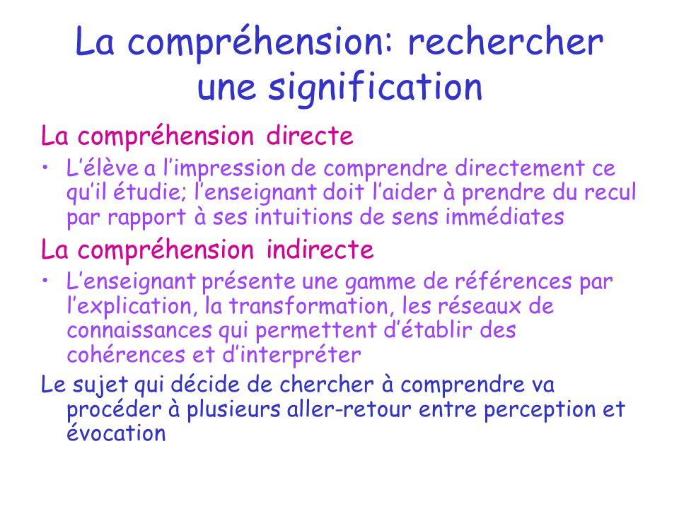 La compréhension: rechercher une signification La compréhension directe L'élève a l'impression de comprendre directement ce qu'il étudie; l'enseignant