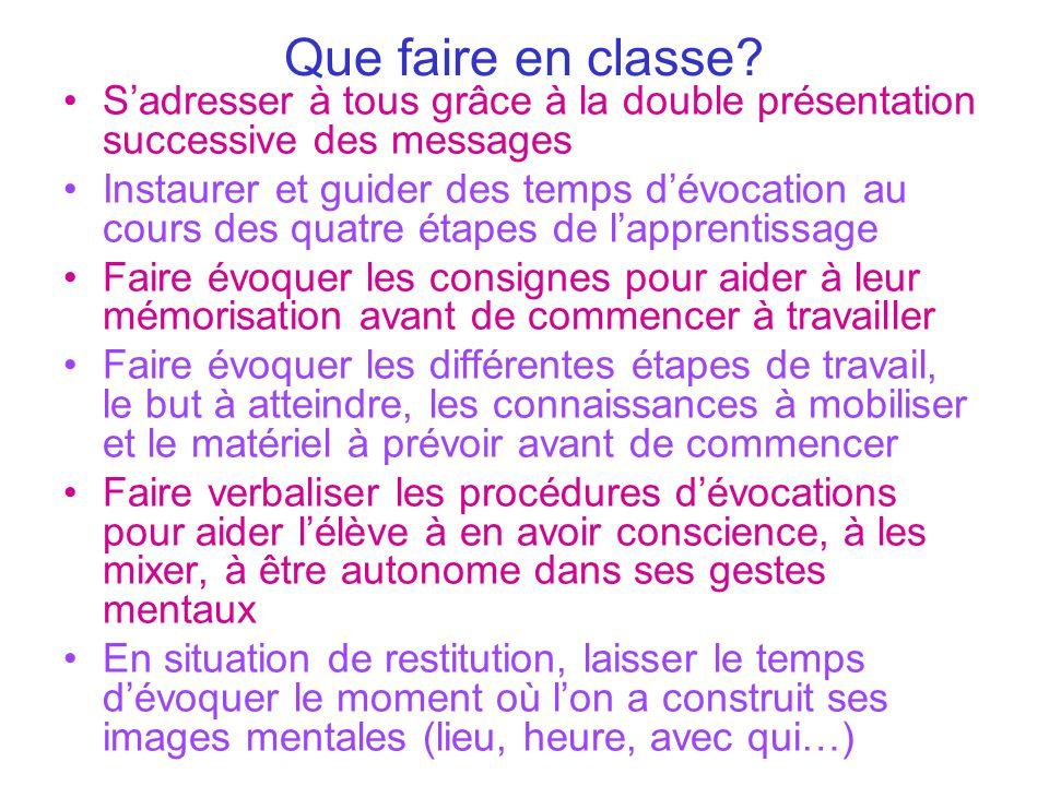 Que faire en classe? S'adresser à tous grâce à la double présentation successive des messages Instaurer et guider des temps d'évocation au cours des q