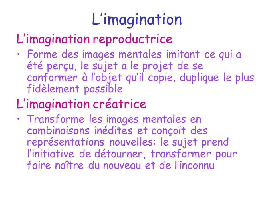 L'imagination L'imagination reproductrice Forme des images mentales imitant ce qui a été perçu, le sujet a le projet de se conformer à l'objet qu'il c