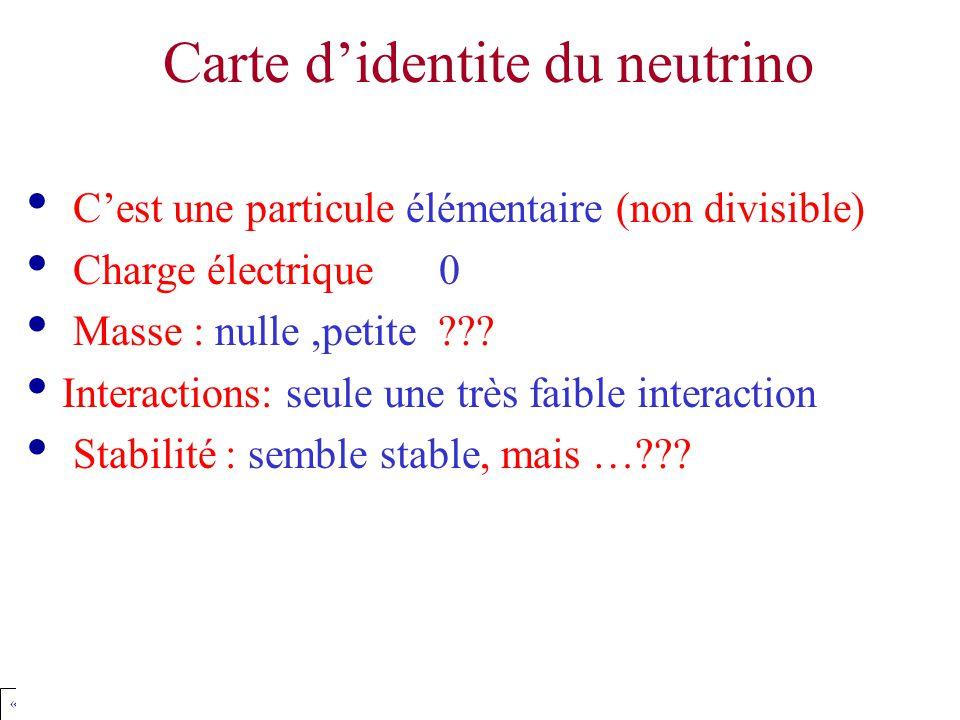 « Amphi Pour Tous » Jean Favier, LAPP, CNRS, Dec 2003 favier@lapp.in2p3.fr Carte d'identite du neutrino C'est une particule élémentaire (non divisible) Charge électrique 0 Masse : nulle,petite .