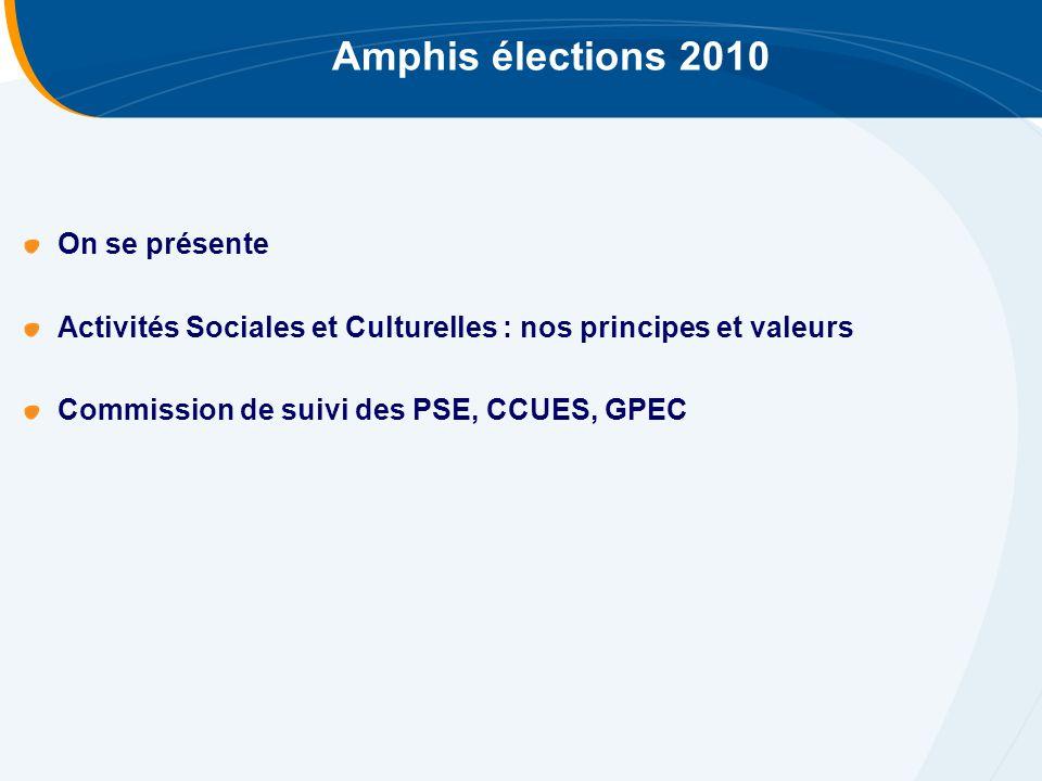 Amphis élections 2010 On se présente Activités Sociales et Culturelles : nos principes et valeurs Commission de suivi des PSE, CCUES, GPEC