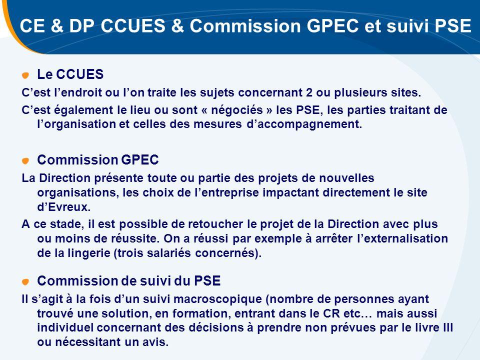 CE & DP CCUES & Commission GPEC et suivi PSE Le CCUES C'est l'endroit ou l'on traite les sujets concernant 2 ou plusieurs sites.