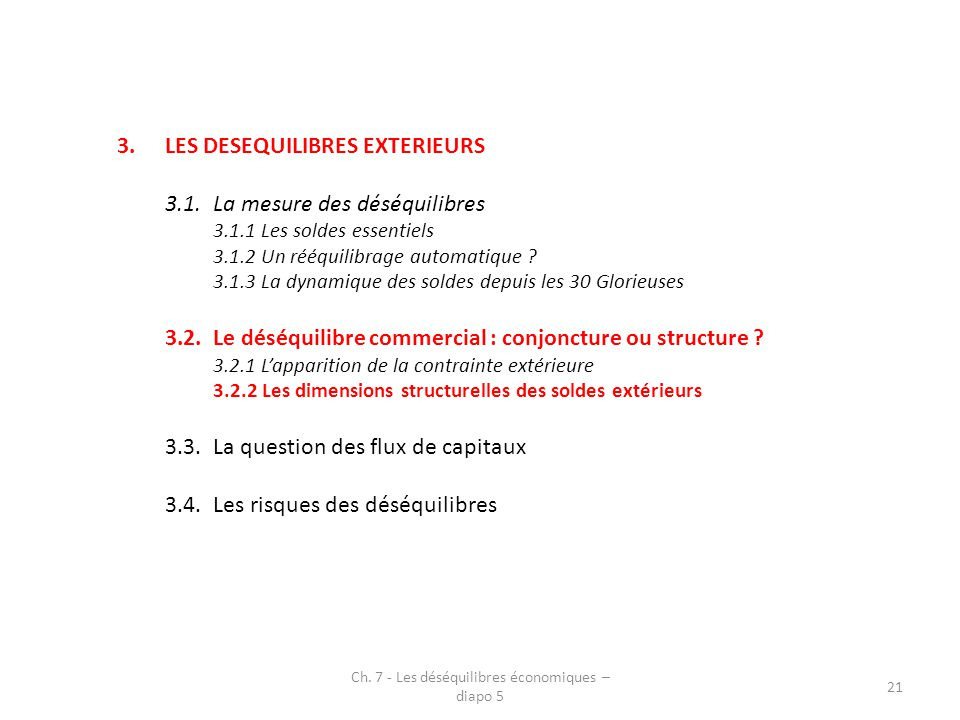 3.LES DESEQUILIBRES EXTERIEURS 3.1.La mesure des déséquilibres 3.1.1 Les soldes essentiels 3.1.2 Un rééquilibrage automatique ? 3.1.3 La dynamique des