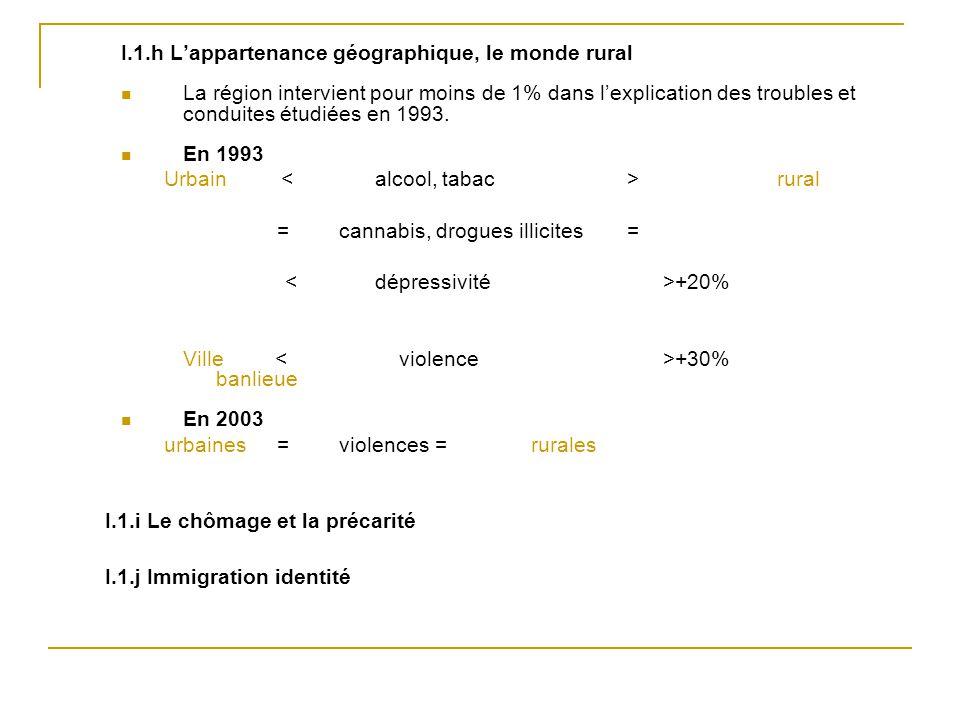 I.1.h L'appartenance géographique, le monde rural La région intervient pour moins de 1% dans l'explication des troubles et conduites étudiées en 1993.