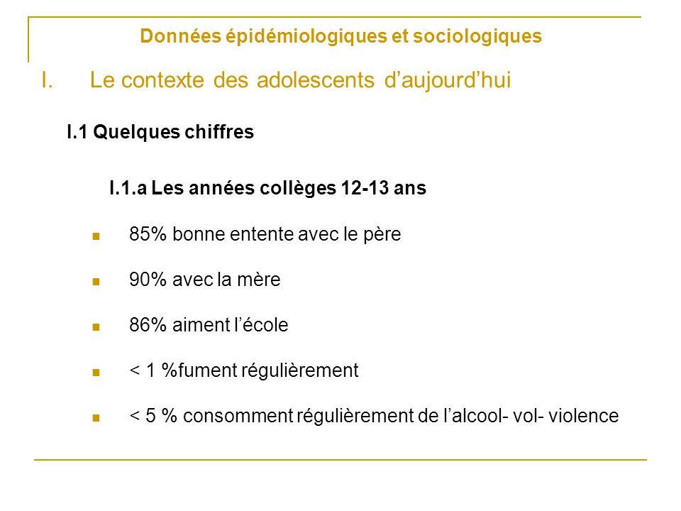 Données épidémiologiques et sociologiques I.Le contexte des adolescents d'aujourd'hui I.1 Quelques chiffres I.1.a Les années collèges 12-13 ans 85% bo