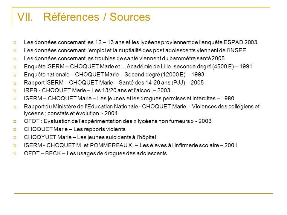 VII. Références / Sources  Les données concernant les 12 – 13 ans et les lycéens proviennent de l'enquête ESPAD 2003.  Les données concernant l'empl