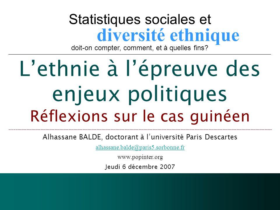 Statistiques sociales et diversité ethnique doit-on compter, comment, et à quelles fins.