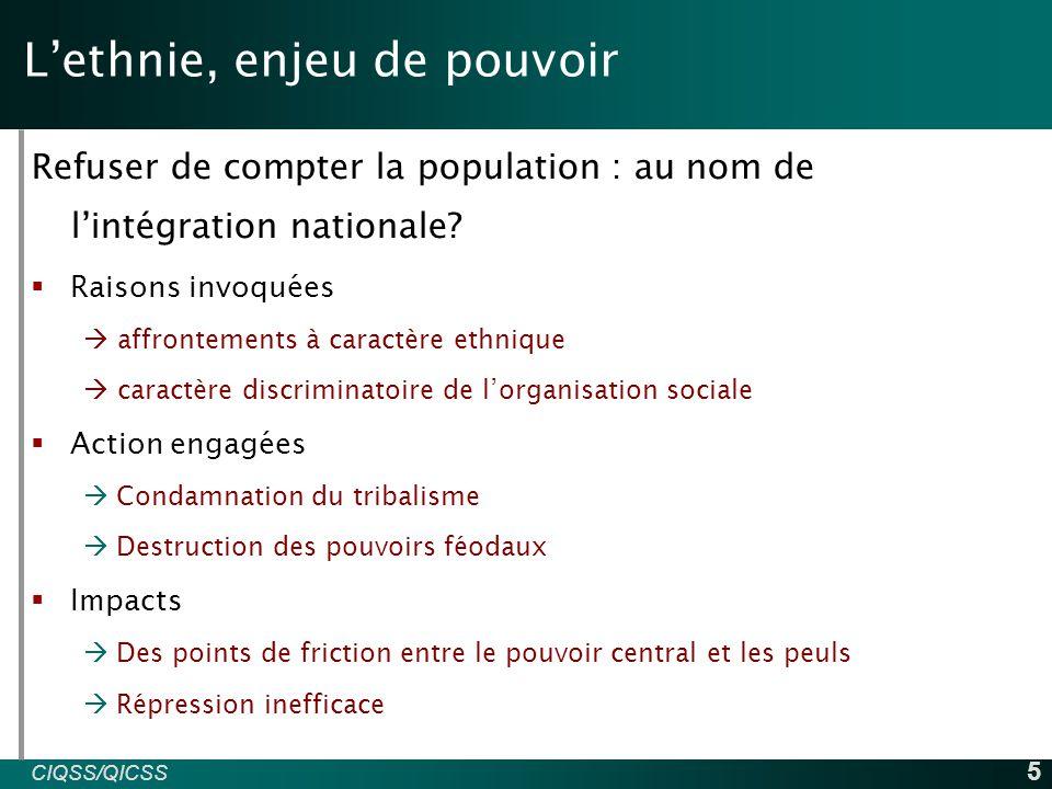 CIQSS/QICSS INED 5 L'ethnie, enjeu de pouvoir Refuser de compter la population : au nom de l'intégration nationale.