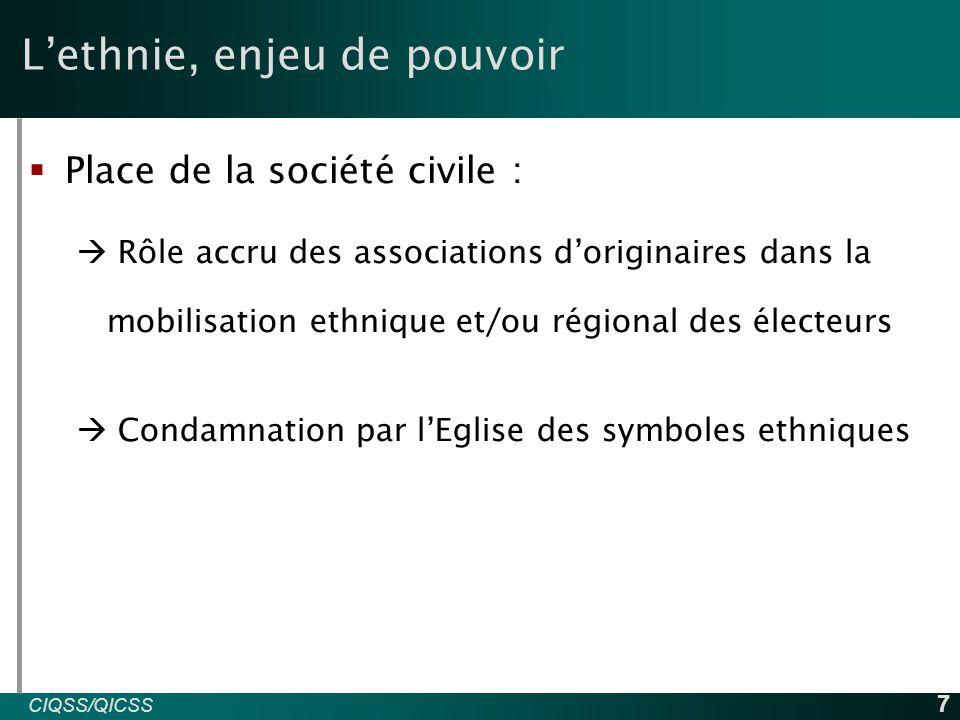 CIQSS/QICSS INED 7 L'ethnie, enjeu de pouvoir  Place de la société civile :  Rôle accru des associations d'originaires dans la mobilisation ethnique et/ou régional des électeurs  Condamnation par l'Eglise des symboles ethniques