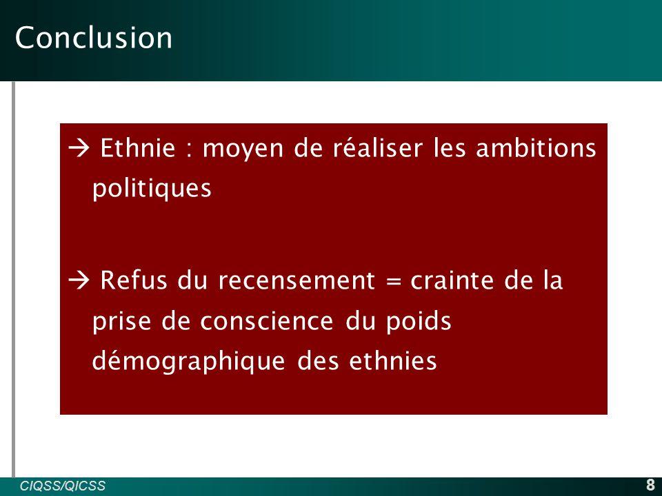 CIQSS/QICSS INED 9  Amselle, J-P, et al., (février 1999), Au cœur de l'Ethnie : Ethnie, tribalisme et Etat en Afrique, Paris, La découverte/Poche, 225p  Bah.