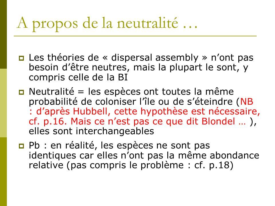 A propos de la neutralité …  Les théories de « dispersal assembly » n'ont pas besoin d'être neutres, mais la plupart le sont, y compris celle de la B