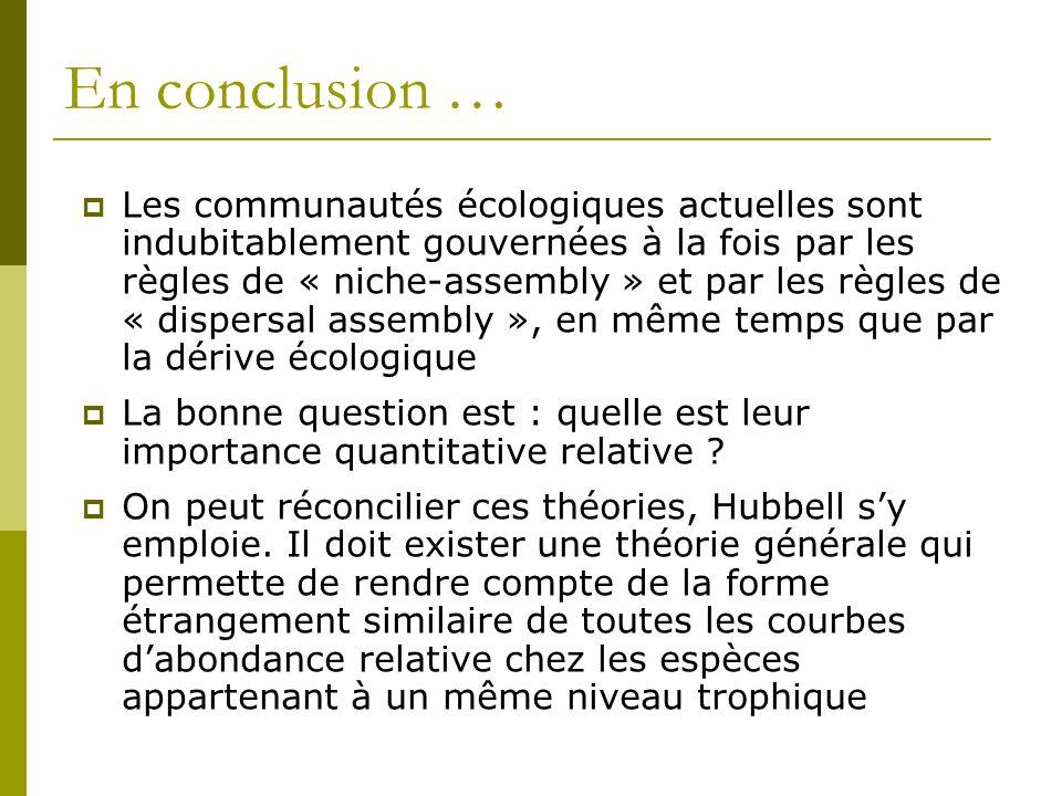En conclusion …  Les communautés écologiques actuelles sont indubitablement gouvernées à la fois par les règles de « niche-assembly » et par les règl