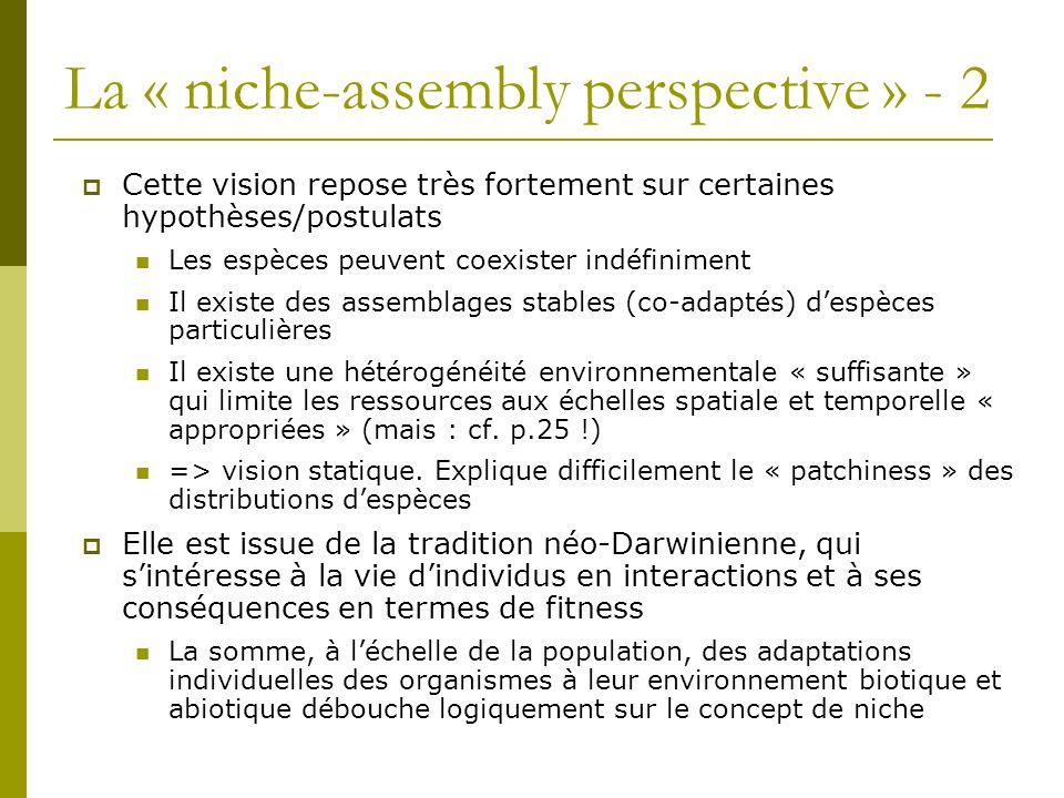 La « niche-assembly perspective » - 2  Cette vision repose très fortement sur certaines hypothèses/postulats Les espèces peuvent coexister indéfinime