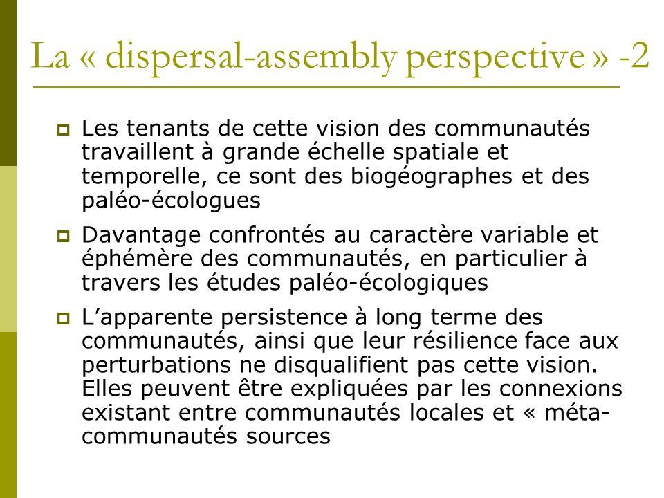 La « dispersal-assembly perspective » -2  Les tenants de cette vision des communautés travaillent à grande échelle spatiale et temporelle, ce sont de