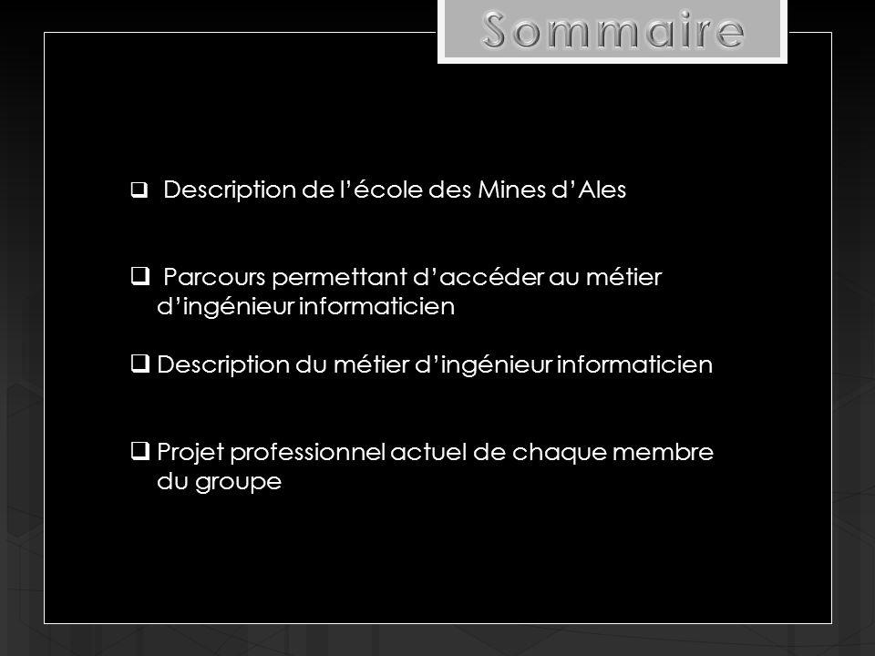  Description de l'école des Mines d'Ales  Parcours permettant d'accéder au métier d'ingénieur informaticien  Description du métier d'ingénieur informaticien  Projet professionnel actuel de chaque membre du groupe