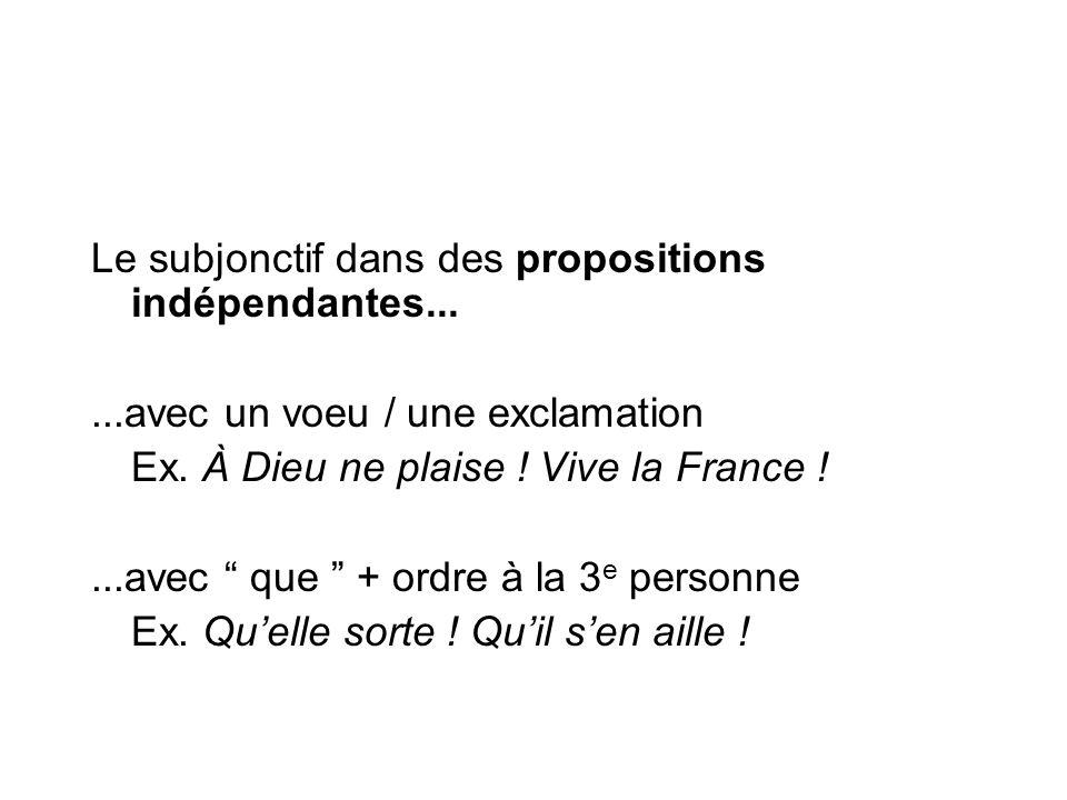 """Le subjonctif dans des propositions indépendantes......avec un voeu / une exclamation Ex. À Dieu ne plaise ! Vive la France !...avec """" que """" + ordre à"""