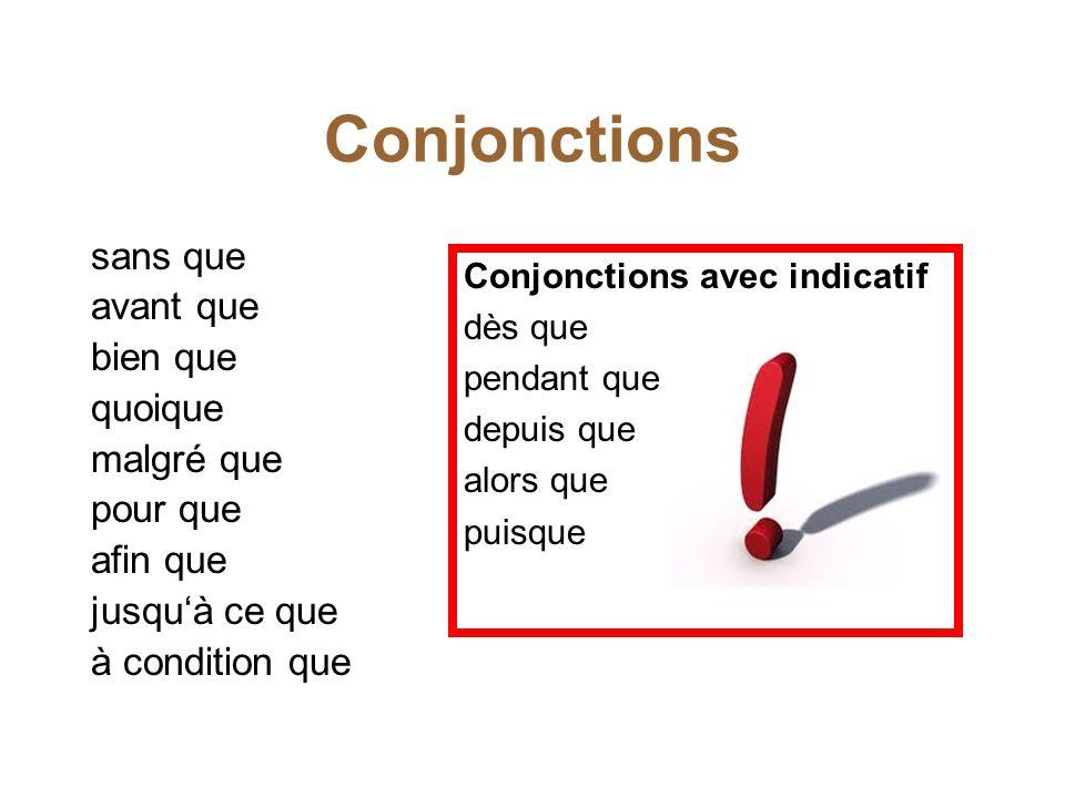 Conjonctions sans que avant que bien que quoique malgré que pour que afin que jusqu'à ce que à condition que Conjonctions avec indicatif dès que penda