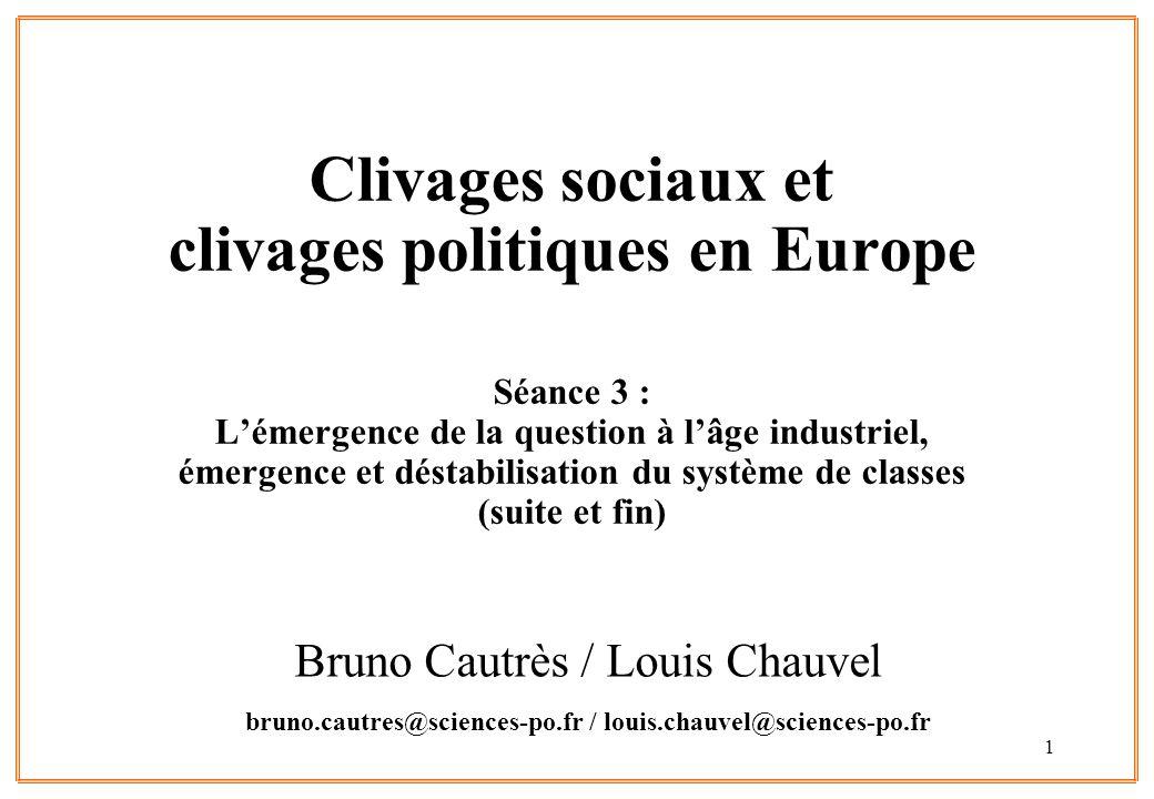 1 Clivages sociaux et clivages politiques en Europe Séance 3 : L'émergence de la question à l'âge industriel, émergence et déstabilisation du système