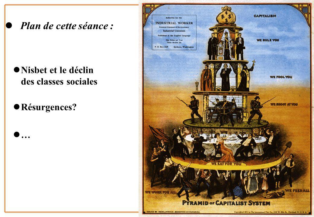 2 l Plan de cette séance : lNisbet et le déclin des classes sociales lRésurgences? l…