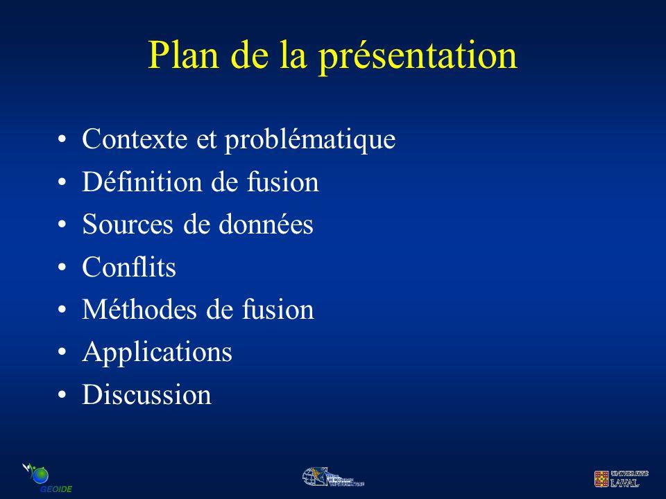 Plan de la présentation Contexte et problématique Définition de fusion Sources de données Conflits Méthodes de fusion Applications Discussion