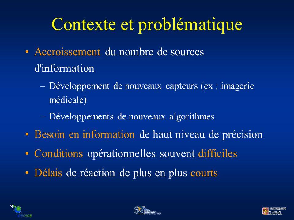 Contexte et problématique Accroissement du nombre de sources d'information –Développement de nouveaux capteurs (ex : imagerie médicale) –Développement
